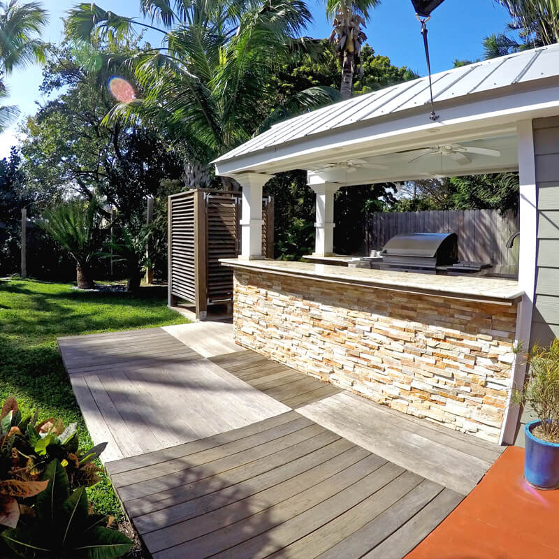 residential outdoor kitchen and shower in Key West