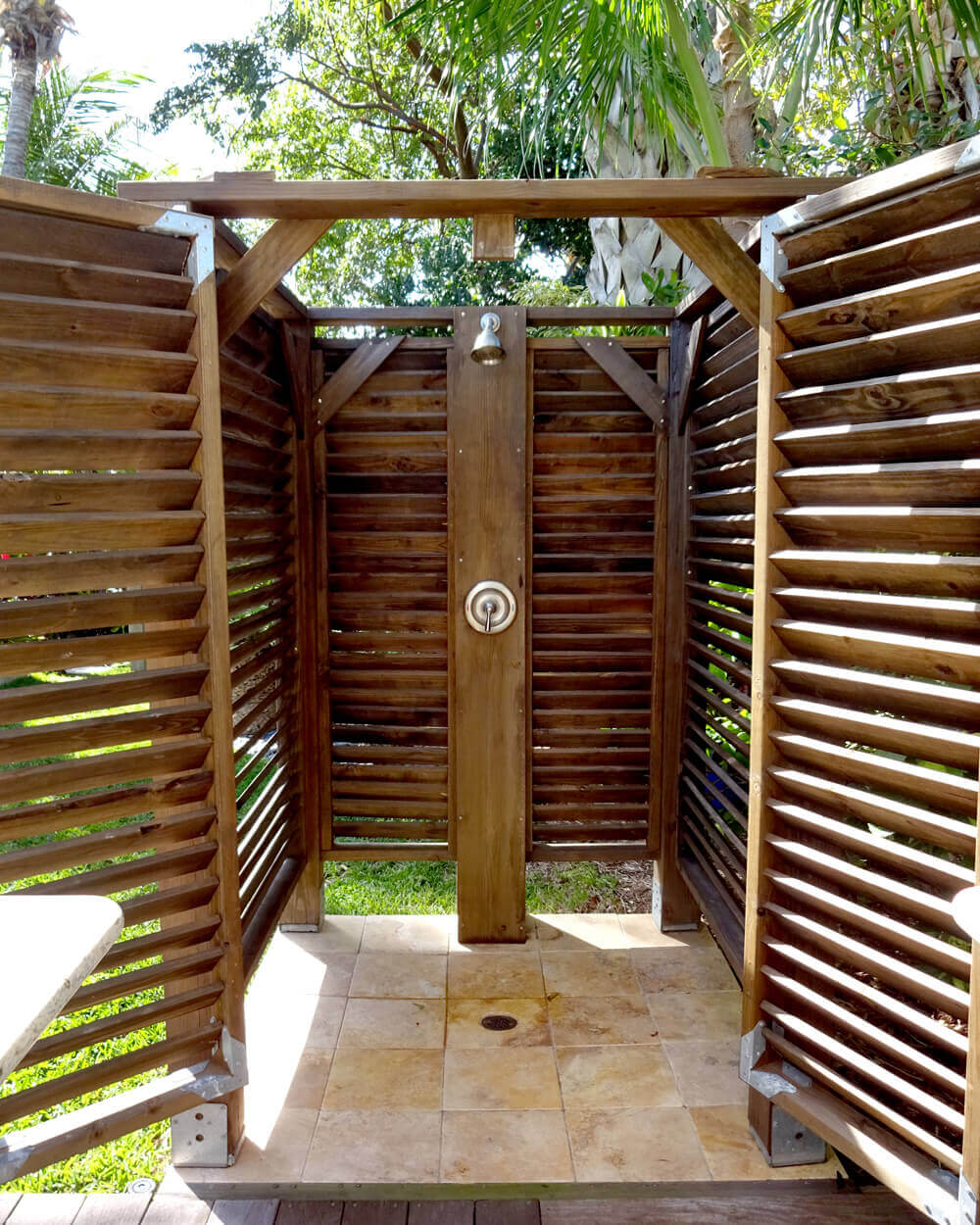 inside of an outdoor shower with slats
