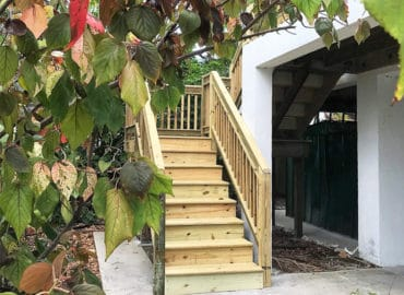 New exterior, wooden staircase